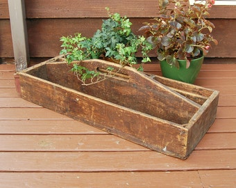 Antique Wooden Tool Box, Old Gathering Box, Large Vintage Tool Box, Drill Box, Rustic Planter Box