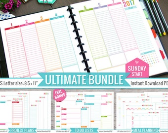 Ultimate 2017 Planner Bundle PRINTABLE Pdf File Sunday Start Weekly Monthly Inserts Meal Planner To Do Lists Project Planner