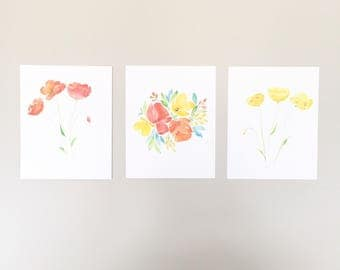Watercolor Floral Set of 3