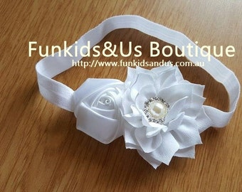 White Shabby chic rose rhinestone Baby Headband-  white headband-Newborn Headband  Christening Accessories-Teen headband