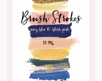 Navy blue. Blush pink.  Gold.  Brush Strokes Clip Art . Watercolor clip art. Digital Design Resource.