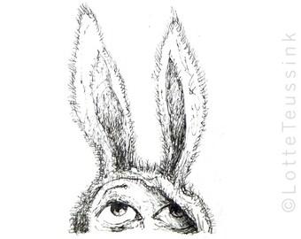 ACEO original art trading card, kid bunny drawing, black & white illustration, lowbrow art, fantasy art, small miniature art, children's art