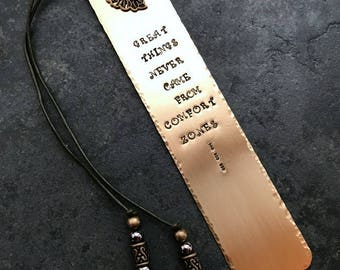 Stamped Metal Brass Bookmark Comfort Zone