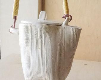 Handbuilt White   Stoneware Teapot