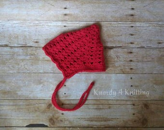 Crochet Pixie Bonnet, Vintage Pixie Hat, Newborn Photo Prop, Crocheted Baby Hat, Crochet Shell Pixie Hat, Gifts for Babies, Gift for Toddler