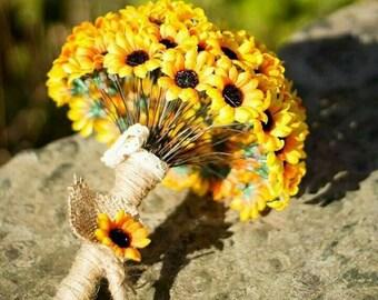 Boho style Artificial Daisy Wedding Bouquet