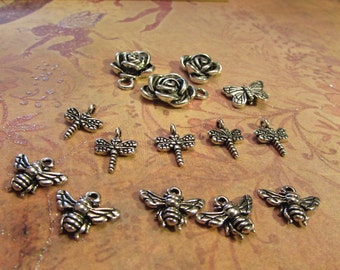 Silverplated spring charms - rose, butterfly, dragonfly, bee