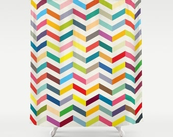 Large chevron shower curtain, bathroom,bathroom decor, colourful shower curtain,geometric curtain,kids curtain,herringbones shower curtain