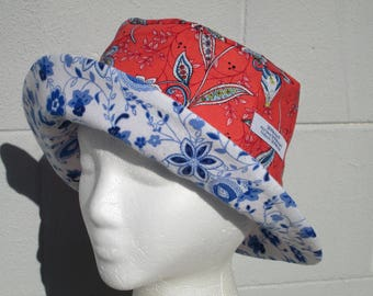 "Bucket Hat 22"" Small hat French Floral bucket hat with blue and white"