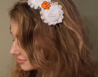 Clemson Tigers Shabby Chic Flower Hair Bow Adult/Child Headband