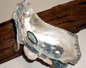 RESERVED FOR MARGARET; 2 Oyster Shell Garden Art pieces, 1 Lettuce Coral Garden Art piece, 1 Geode Garden Art piece