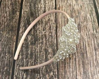Rhinestone headband, champagne headband, flower girl headband, wedding headband, dressy headband, formal headband, halo, baby headband,
