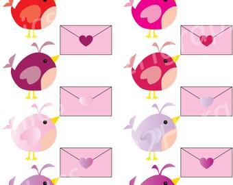 Valentines Clipart, Cute Bird Clip Art, Vector Clipart, Digital Scrapbooking, Graphic Artwork, PNG & JPEG, Digital Clipart, Commercial Use