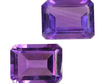 African Amethyst Loose Gemstones Octagon Cut Set of 2 1A Quality 8x6mm TGW 2.70 cts.