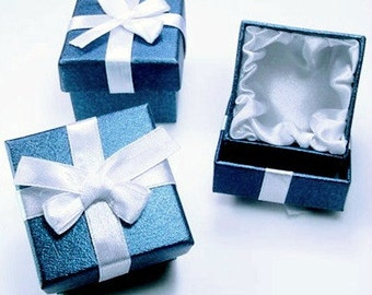 Destach Square Blue Gift Ring Boxes with White Satin Bow and Satin Lining Set of 12 Boxes