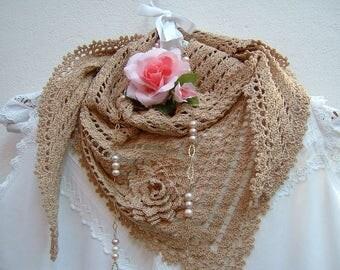 Crochet lace scarf-ecru cotton shrug-triangular Scarf for summer-fashion women boho-flower application