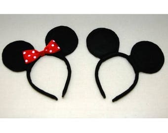 20 pc Minnie and Mickey Mouse Ears Headbands Black Red Polka Dot Bow Birthday Party