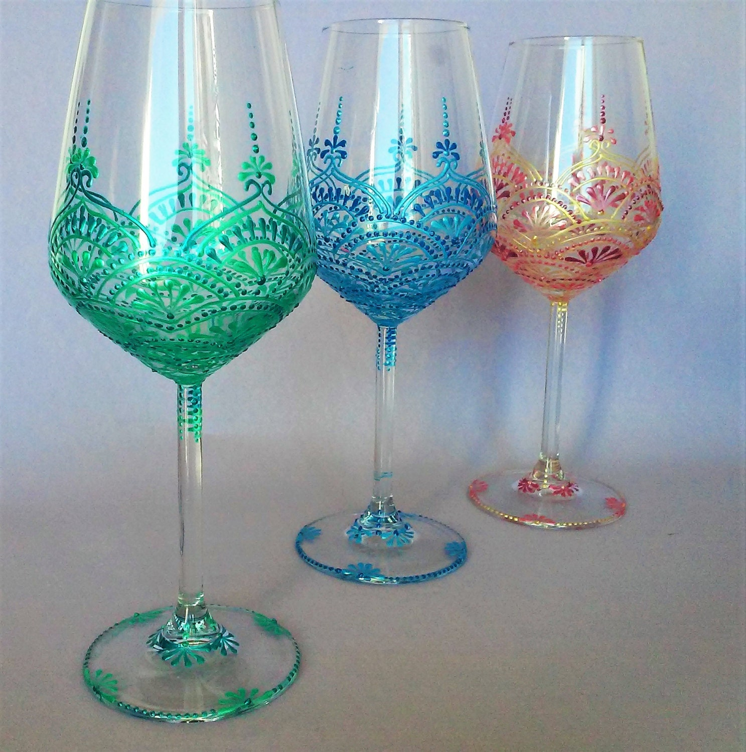 Hand painted wine glasses decorative wine glasses wedding for Hand painted wine glasses