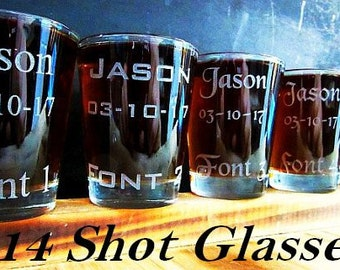 Set of 14 Personalized Gift Idea for Wedding Toasts // Groomsman, Best Man, Bridesmaid Custom Engraved Glasses // Wedding Gifts for Men