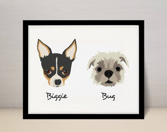 "8"" X 10"" Custom Pet Portrait Illustration, Dog Portrait, 2 dogs on 8x10 print"