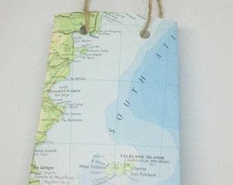 World Map Paper Gift Bag Small - Bon Voyage - Presentation Bag, Atlas, Wedding Favour, Favors