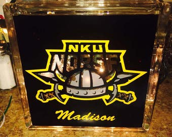 SALE!! NKU Norse Themed Lighted Glass Block