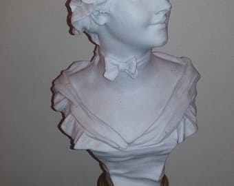 Large Victorian antique bisque lady bust on bronze marble base VAN DER STRAETEN circa 1880