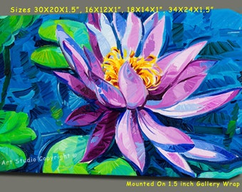 """Blue Water Lily Flowers Canvas Giclee, Acrylic Art W Gallery Wrap Ready To Hang Up To Size 42X34X1.5"""""""