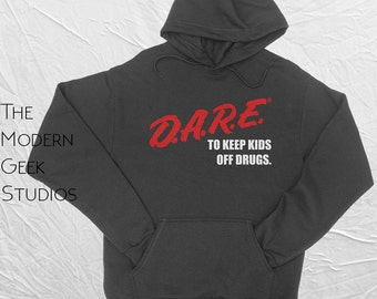 D.A.R.E. (Dare) Vintage Logo Hoodie -  Heavy Blend Hooded Sweatshirt - Screenprinted