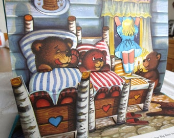 Goldilocks Pop Up Picture Story - Vintage Pop-Up 80s Childrens Book - Three Bears Fairytale