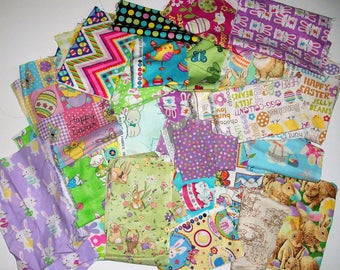 Easter Scrap Fabric Destash Fabric Padded Flat Rate Priority Envelope Stuffed with Assorted EASTER Fabric Scrap Pieces Quilting Scraps