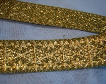 1960's Vintage Olive Gold Metalic Trim 15 yds