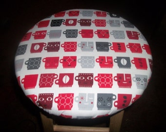 """2 Sides In 1 Kitchen Bar Stool Slip Cover Reverse Red Coffee Cups to Flowers fabric 13"""""""