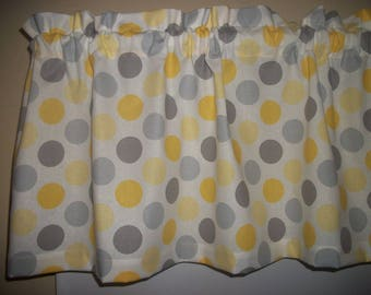 Yellow Gray Polka Dot Kitchen Bedroom Bathroom fabric curtain topper Valance