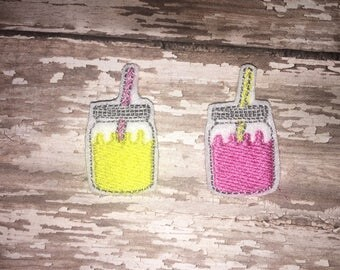 Set of 4 Lemonade Felties Pink Yellow Lemonade Sweet Tea Mason Jar Glitter Feltie Planner Clip Bow! Birthday Party Baby Shower Decoration