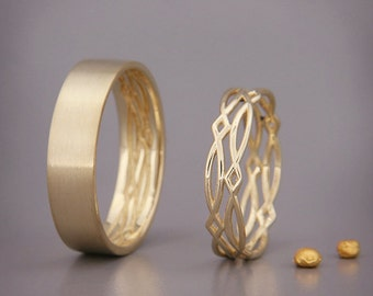 14K Gold Eternity Wedding Rings Set   Handmade solid 14k gold eternity wedding Rings   His and Hers Wedding Bands Set