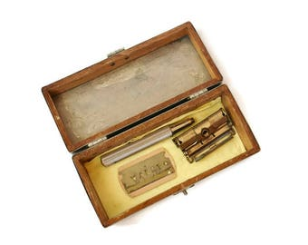 Vintage Gillette Valet Safety Razor Kit & Silver Metal Wood Lined Box Case Canada 1930s