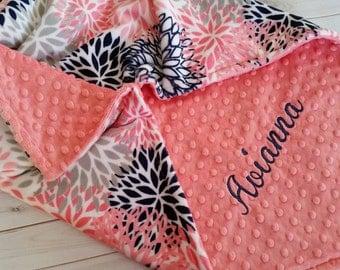 Personalized Minky Baby Blanket, Coral Minky Blanket, Baby Girl Minky Blanket, Coral and Navy Baby Blanket, Girl Baby Blanket
