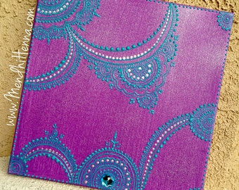 12x12 purple and turquoise henna painting