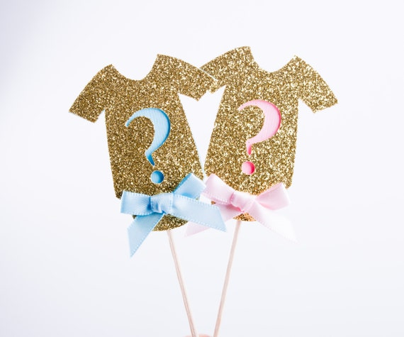 Gender Reveal Party Cupcake Toppers He or She Cupcake Toppers  Gender Reveal Ideas Decorations Body Suit Cupcake Toppers 12CT