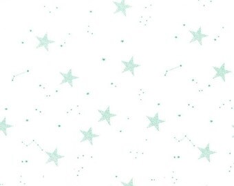 KNIT - Lucky Stars in Turquoise, Magic! Collection by Sarah Jane for Michael Miller Fabrics 2186