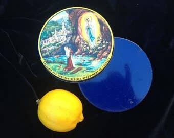 Souvenir of Lourdes pastille tin