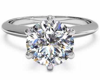 2 carat Forever One Moissanite Engagement Ring, Charles and Colvard Moissanite Engagement Ring Forever One Moissanite Engagement Ring, 18k
