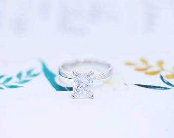 Solitaire Engagement Ring 3 Carat Radiant Cut Diamond Ring 14K White Gold FREE SHIPPING