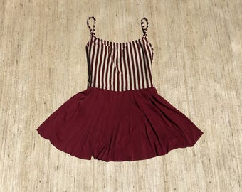 Maroon Striped One Piece Swimsuit | 90s vintage | retro | pin up | Bettie page | 60s | criss cross | nylon | bathing suit | size medium