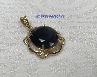 Stunning 18K Yellow Gold Floral Pendant Charm with Dark Synthetic Stone + Gift