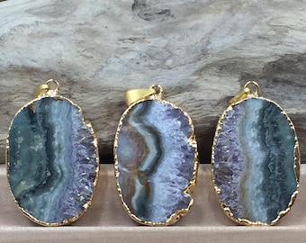 Amethyst Slice, Amethyst Oval Pendant, Amethyst Slice Pendant, Amethyst Druzy Pendant, Drusy Pendant, 24 Karat Gold