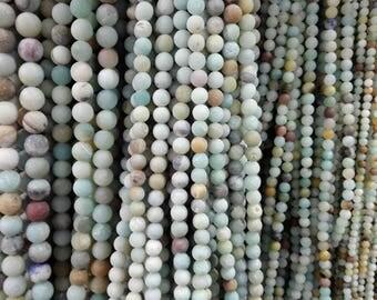 6mm natural amazonite matte finish round beads, 15.5 inch