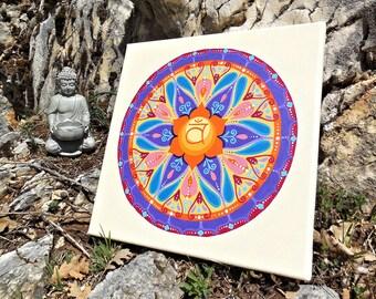 Acrylic painting canvas mandala chakra for meditation room; sacred buddhist art perfect birthday or wedding gift idea.
