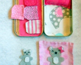 koala bear altoid tin road trip play set,summer travel toy,stuffed animal,bedtime,girl,felt,church toy,sleepover,personalized,pretend play